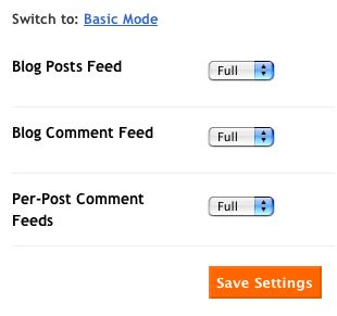 Advanced site feed settings