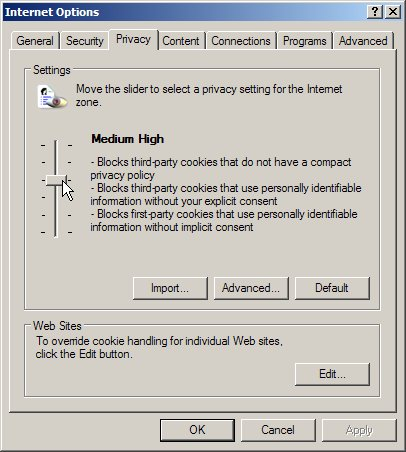 Internet Explorer: privacy settings